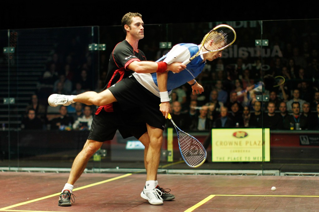 David Palmer tussles with England's Nick Matthew