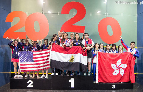The top three teams on the podium