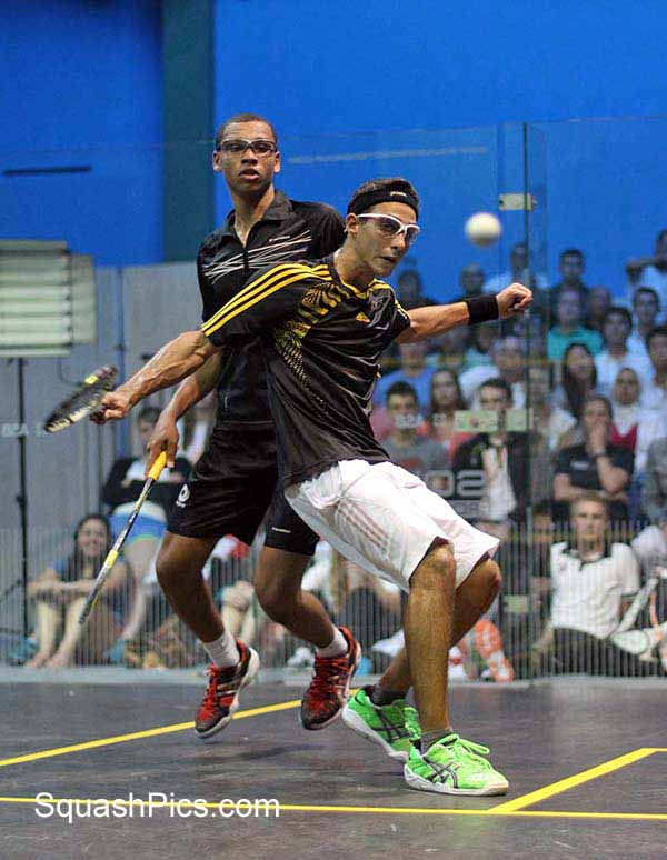 Egypt's Karim Elhammamy gets in front against England's Richie Fallows