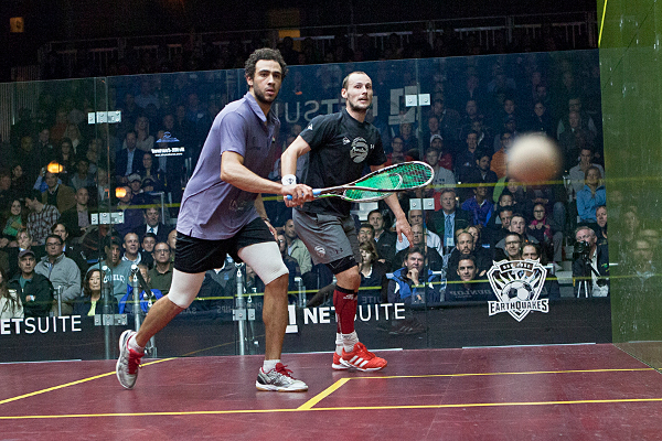 Ramy Ashour roars past Gregory Gaultier in the San Francisco final