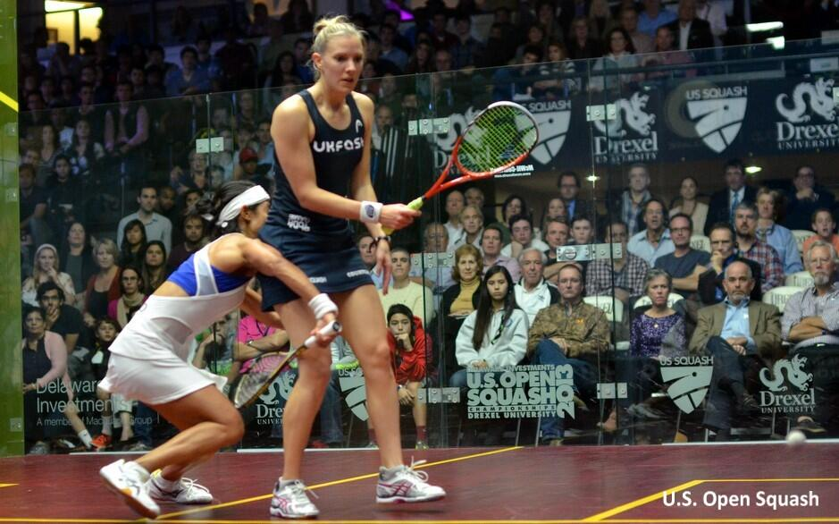 Let's get physical: Nicol David crashes into Laura Massaro in the US Open final