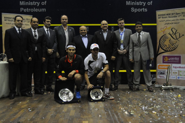 The presentation party after Mohamed Elshorbagy beat Karim Darwish in the final