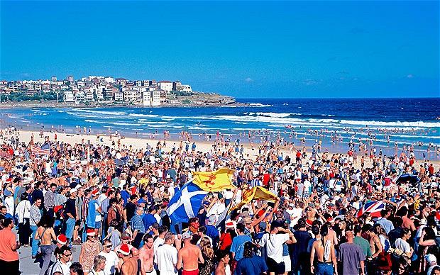 Aussies celebrate Christmas on Bondi Beach