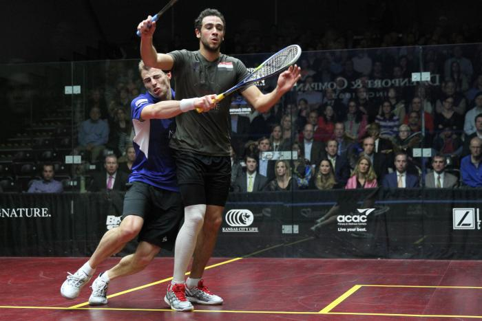 Ramy Ashour and Nick Matthew battle it out at the 2013 NAO final at the Westwood Club in Richmond