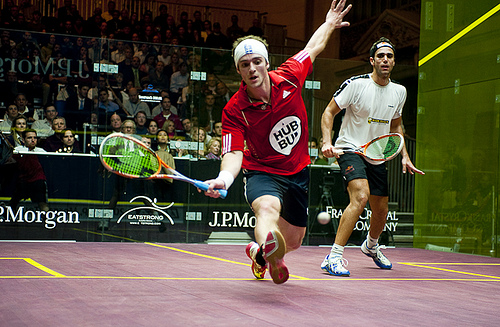 Gilly gets in front against Karim Darwish at the ToC