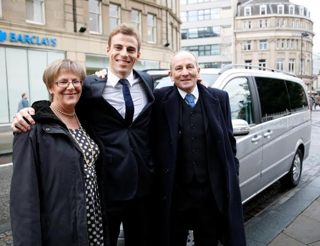 Nick Matthew with proud dad Hedley and mum Sue after a civic reception in Sheffield