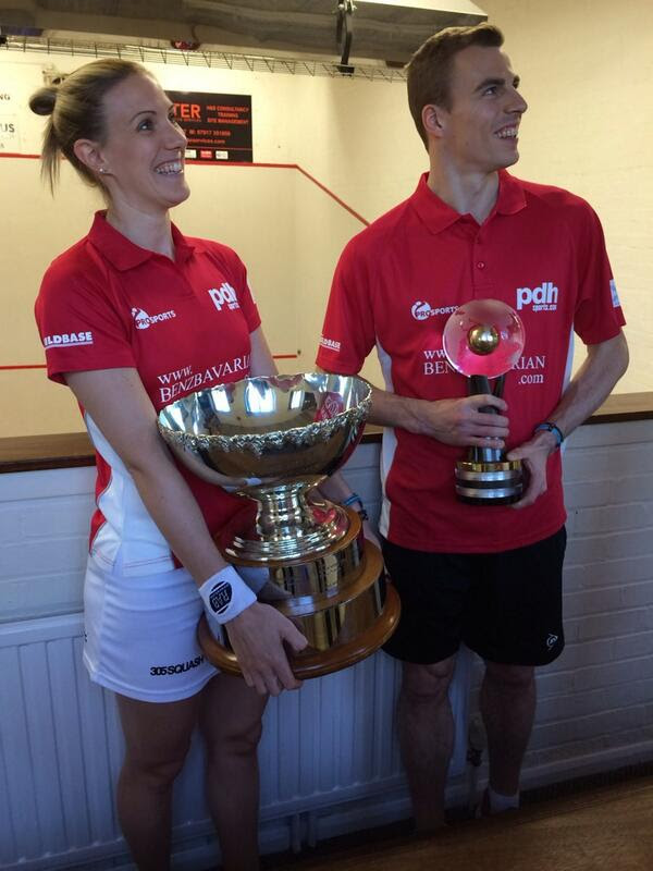 With fellow world champion Laura Massaro. Both love turning out for club side Duffield, forging a link between the elite level and the grass-roots of the sport