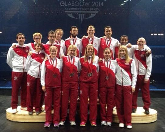 The England squad take to the podium in Glasgow