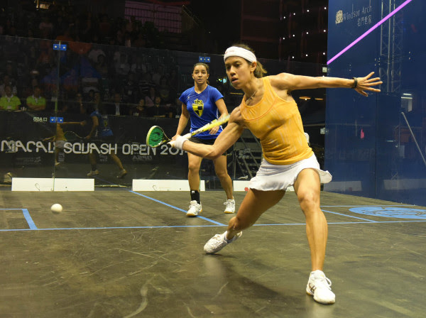 Moving smoothly, Nicol David shapes up for a quality forehand