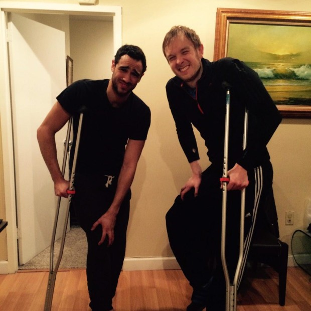 Ramy Ashour and James Willstrop share crutches in New York