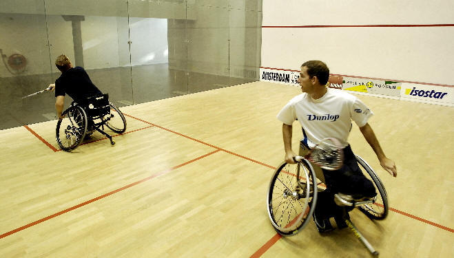 Wheelchair squash in action