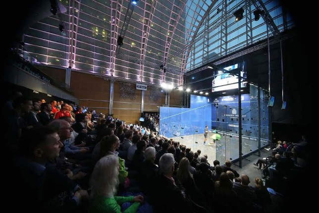 A full house crowd around the new glass court at Canary Wharf