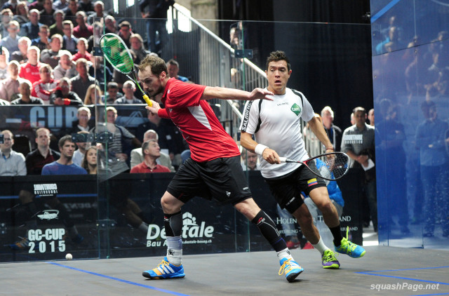 Gregory Gaultier lines up a shot against Miguel Rodriguez