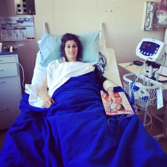 Megan in hospital after heart surgery