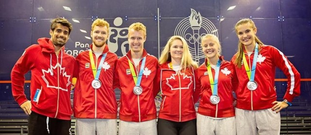 Team Canada celebrate their medals