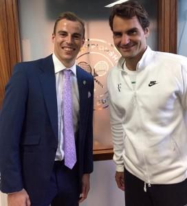 Nick Matthew meets Roger Federer at Wimbledon