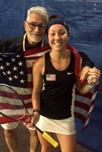 Amanda Sobhy and USA coach Paul Assaiante