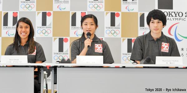 Nicol David and young Japanese players Satomi Watanabe and Ryunosuke Tsukue