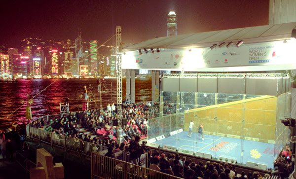 The glass court erected by Hong Kong harbour