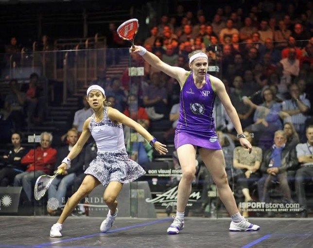 Sarah-Jane on the attack against Nicol David