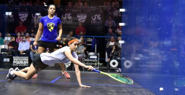Nour dives around the court against Raneem