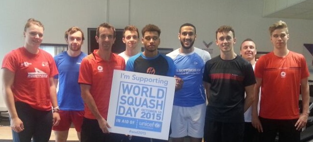 England training squad support World Squash Day