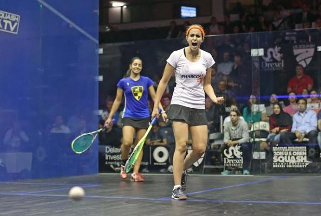 Nour El Tayeb celebrates beating top seed Raneem El Welily