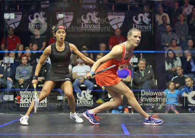 Nicol David looks stunned by Laura Massaro's fightback