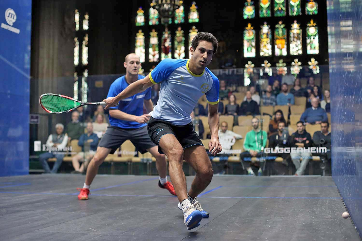 Tarek Momen in action against Nic Mueller in Chicago