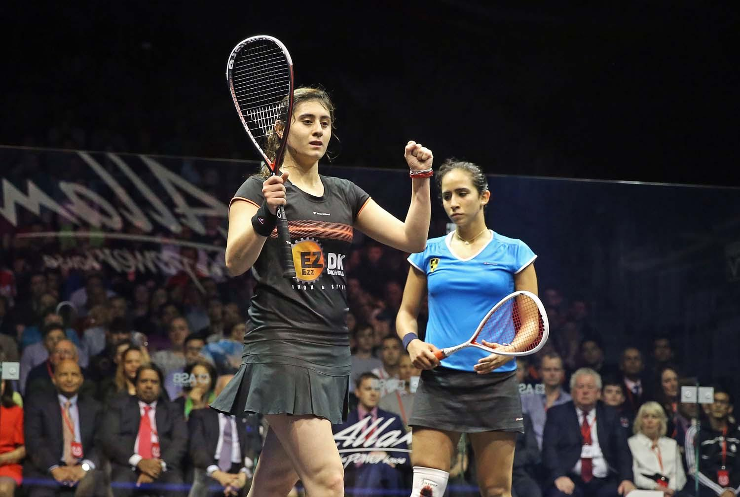 Nour El Sherbini celebrates winning the British Open final