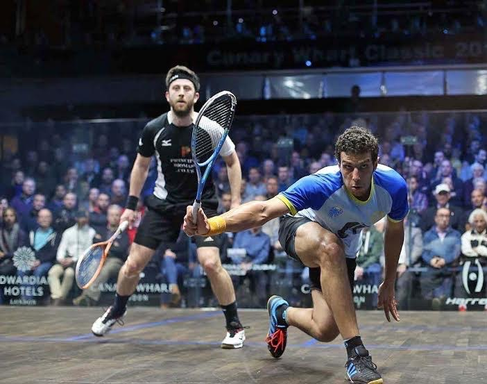 Omar Mosaad drives the ball down the line against Daryl Selby