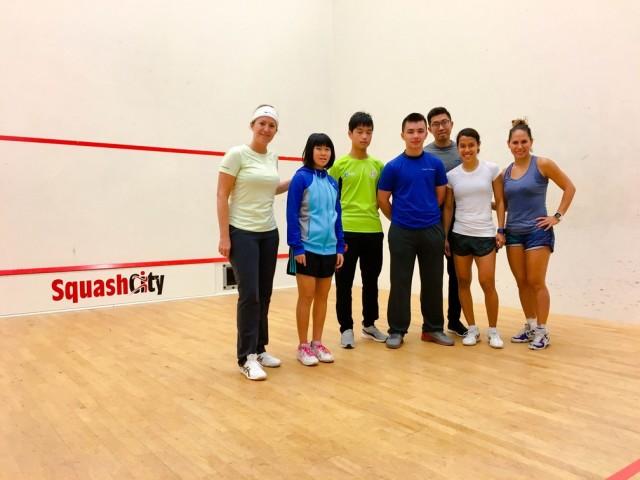 (l-r) Liz Irving, Yeung Weng Chi, Ian Leung, Manuel Chan Gassmann, Lim Chee Ming, Nicol David and Samantha Teran at the junior camp in Amsterdam.