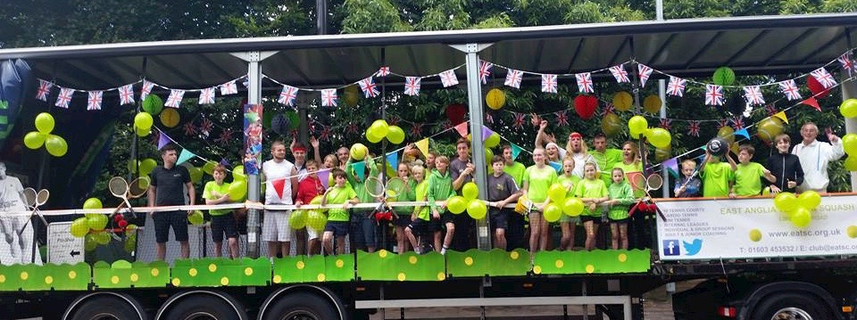 East Anglia Tennis and Squash club are busy promoting the sports at the Lord Mayor's Procession in Norwich