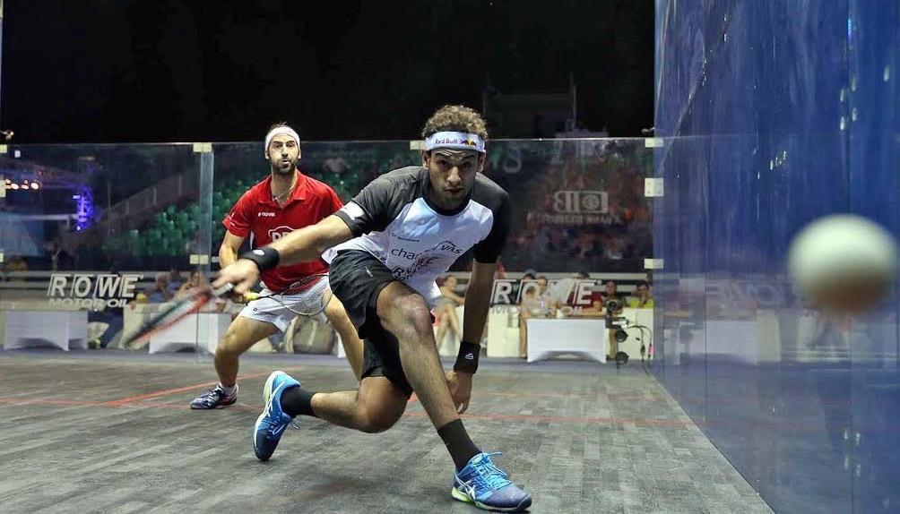 Mohamed Elshorbagy in action against Simon Rosner