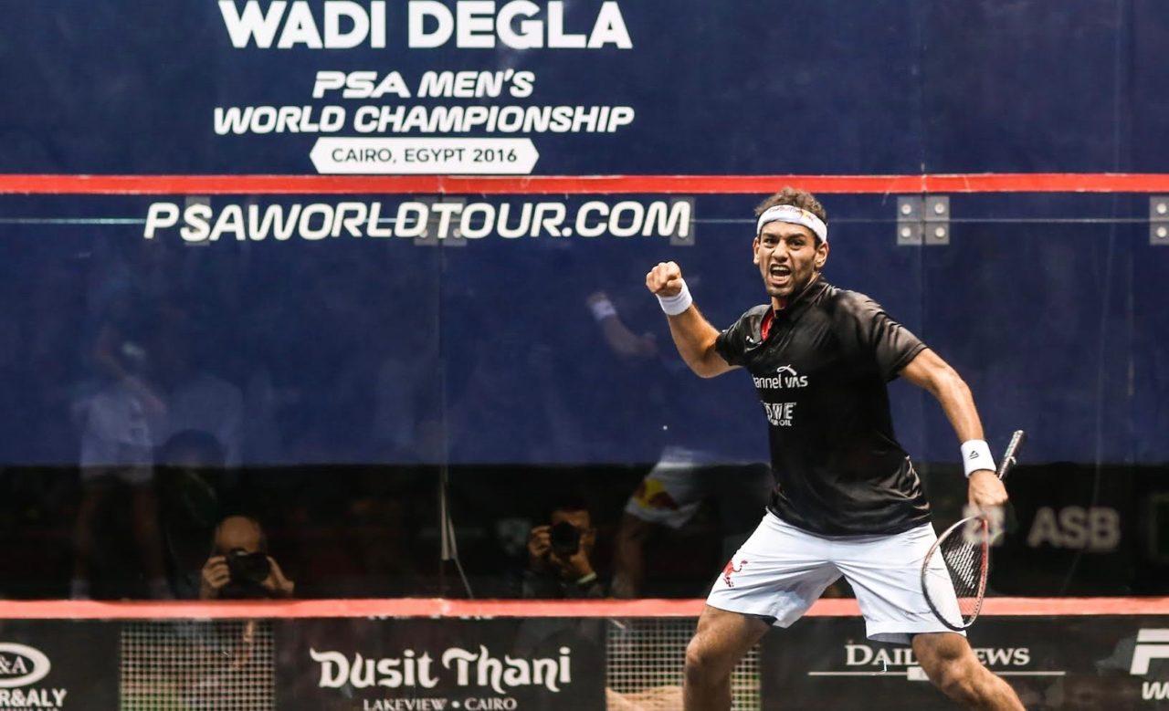 Mohamed Elshorbagy celebrates victory