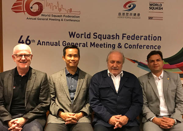 Thew new WSF leadership team: Gar Holohan, Huang Ying How, Jacques Fontaine and Pablo Serna