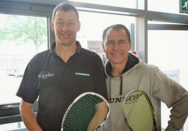 Colin Payne and Fredrik Johnson before this year's British Open Over-50 final in Hull
