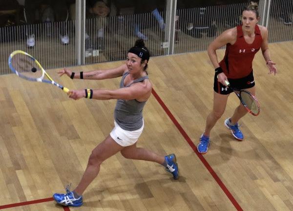 Amanda Sobhy (left) in action against Laura Massaro