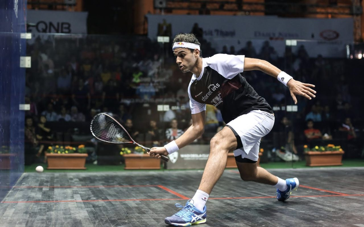 Top seed Mohamed Elshorbagy in action