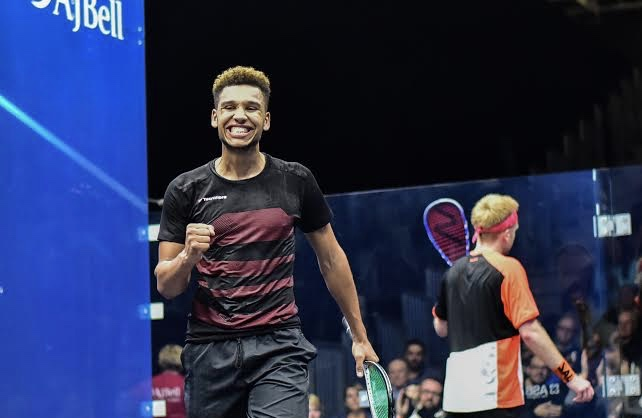 Richie Fallows celebrates victory over Tom Richards
