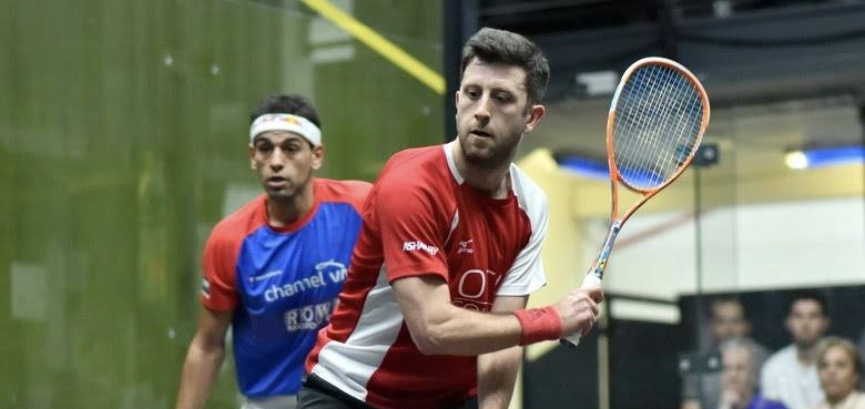 Daryl Selby gets in front of Mohamed Elshorbagy