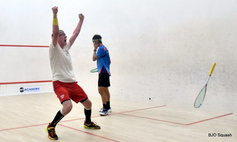 Andrew Douglas celebrates victory over Eain Yow Ng