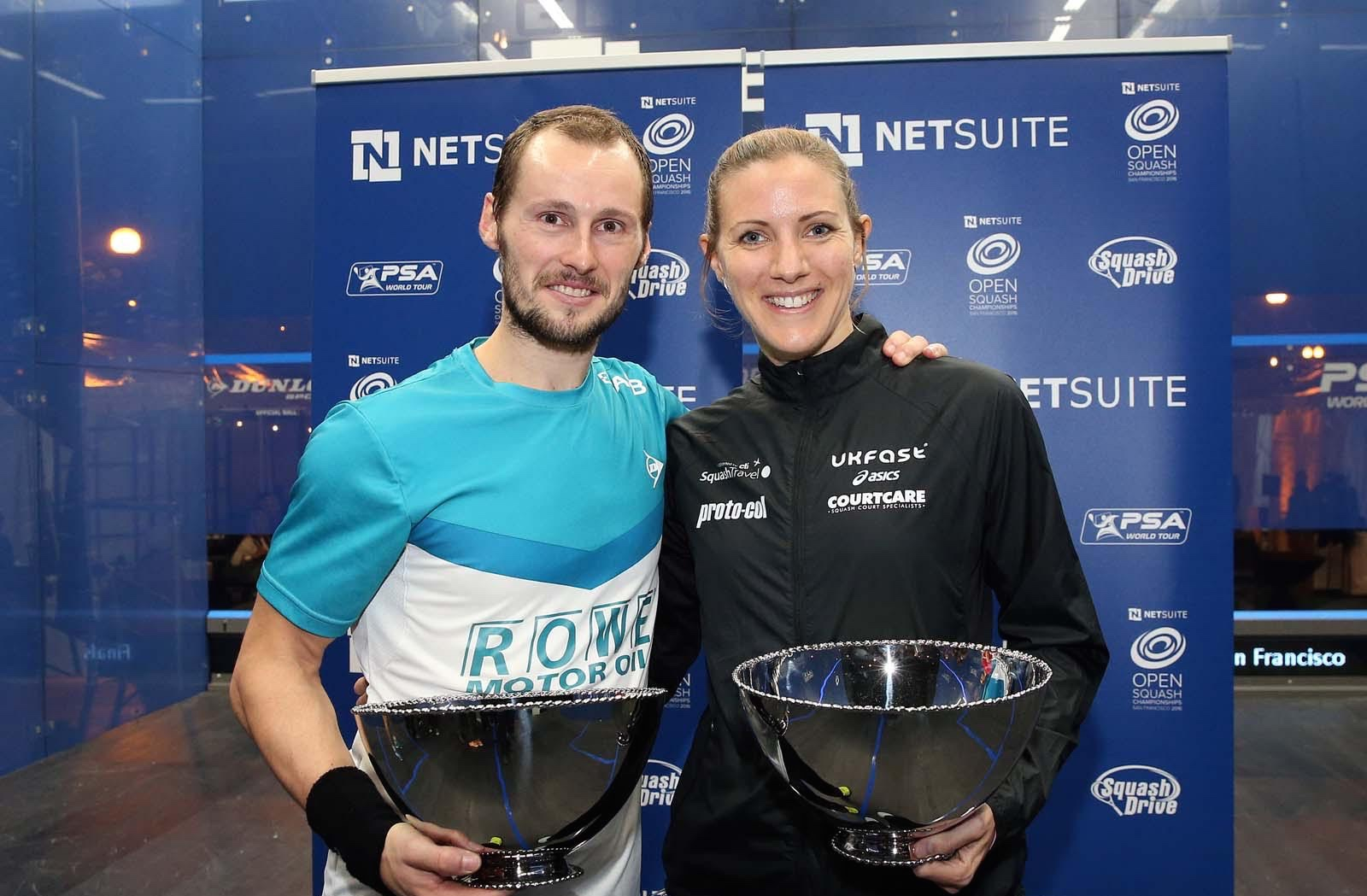 Gregory Gaultier and Laura Massaro share the spoils from the growth of the PSA World Tour
