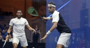 Birthday boy Mohamed Elshorbagy given a hard time by Declan James at ToC
