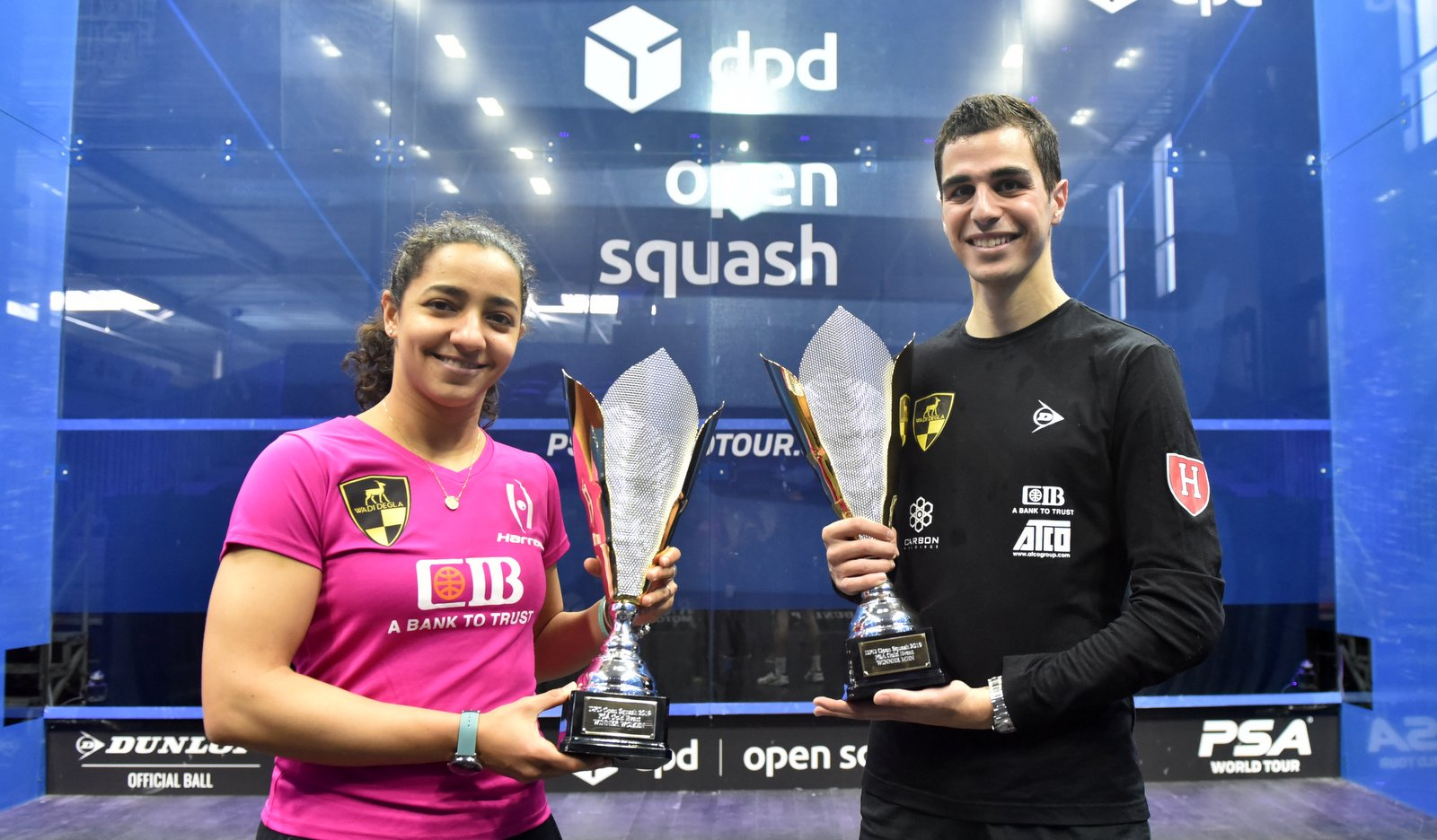 Ali Farag and Raneem El Welily post Eindhoven title triumphs